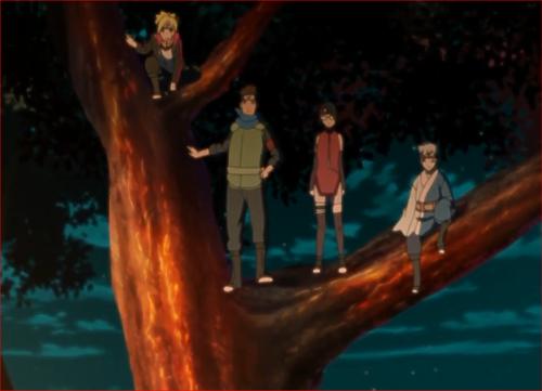 アニメBORUTO40話、木の上から動きを見張る第七班