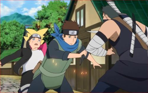 アニメBORUTO40話、葦丸の攻撃をかわしボルトを助ける木ノ葉丸