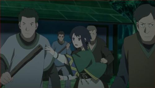 アニメBORUTO40話、騒ぎを聞きつけ、村人を止めに入る伎璃