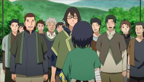 BORUTO41話、伎璃を囲んで笑顔の村人たち