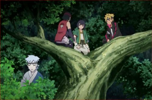 BORUTO41話、木の上で伎璃の治療に当たる第七班