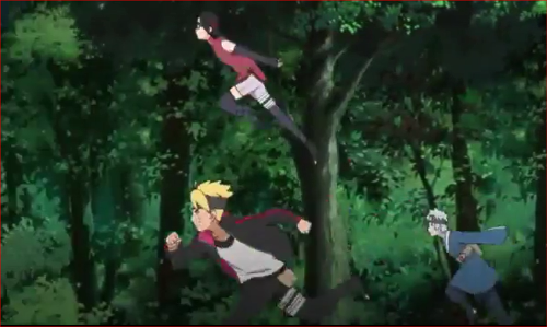 BORUTO42話、迷子猫捕獲任務、木の上から探索に出るサラダ