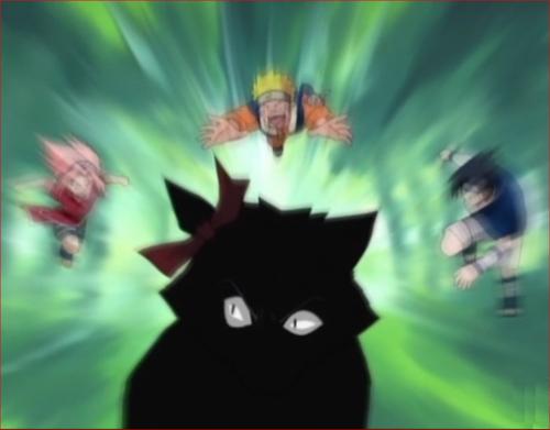 アニメNARUTO、迷子ペットトラ捕獲任務 ターゲット攻撃