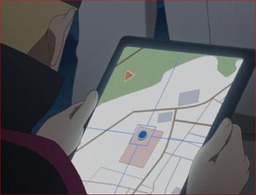アニメBORUTO第46話、タブレットに映る白夜団の現在位置