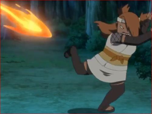 アニメBORUTO第46話、チョウチョウを狙い撃ちする狐火