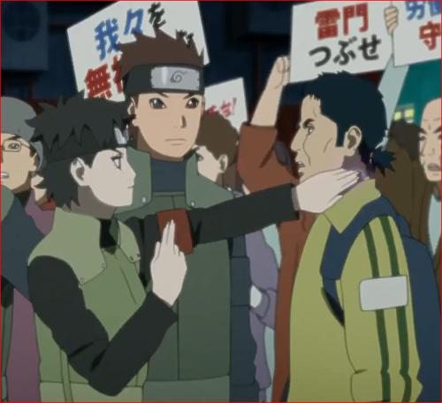 アニメBORUTO第46話、デモ扇動者の男性の幻術を解くミライ