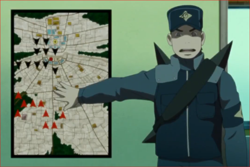 アニメBORUTO第46話、デモ隊の進路と忍の配置図