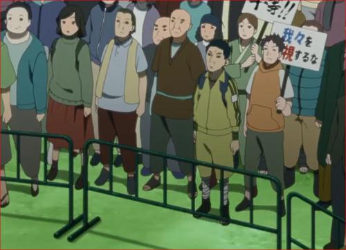 アニメBORUTO第46話、ナルトの話に聞き入るデモ参加者たち