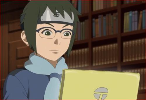 アニメBORUTO第46話、ノートPCで、何かを分析中のデンキ