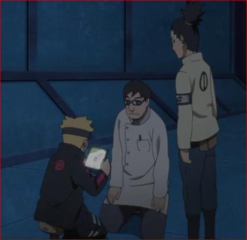 アニメBORUTO第46話、ボルトにタブレットを手渡す遠野カタスケ