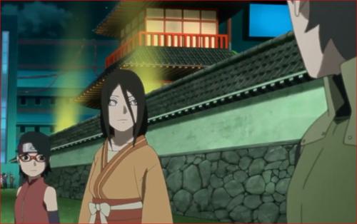 アニメBORUTO第46話、ミライの目くばせで、他の扇動者の幻術を解きに行くサラダとハナビ