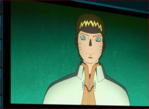 アニメBORUTO第46話、大型モニターに映るナルト