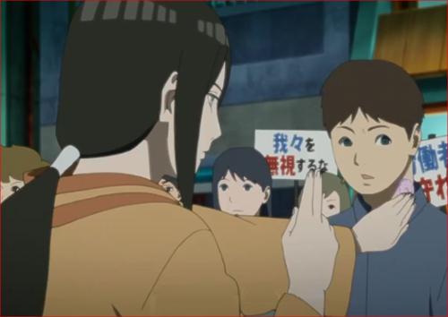 アニメBORUTO第46話、扇動者の幻術を解くハナビ