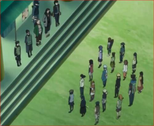 アニメBORUTO第46話、木ノ葉警務部詰所前でコウタロウの指示を受けるボルト達