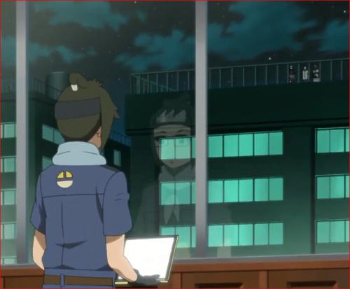 アニメBORUTO第46話、正面の警備を見下ろすデンキ、向かいのビルには第十班の同朋の姿が!