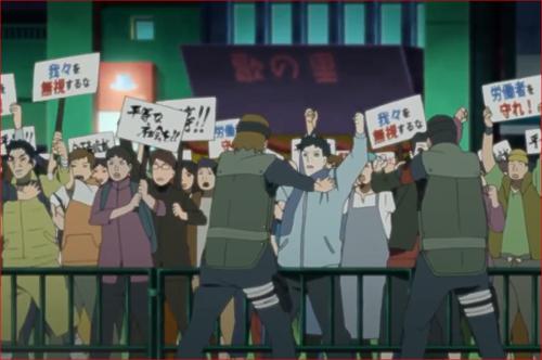 アニメBORUTO第46話、正面入り口で騒ぐデモ隊