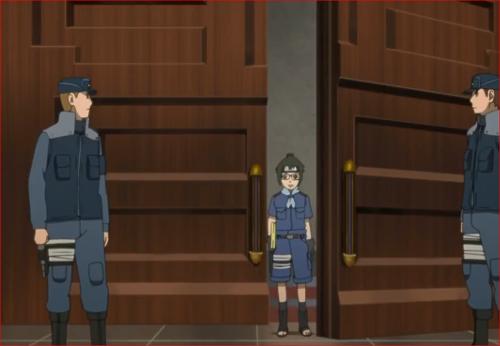 アニメBORUTO第46話、父の執務室を訪れるデンキ