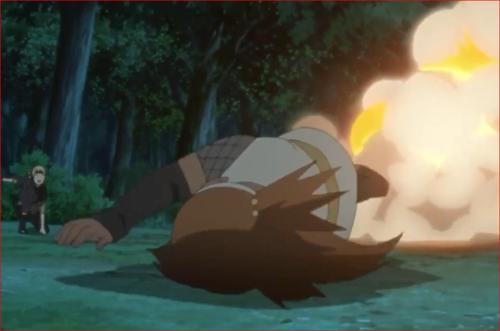 アニメBORUTO第46話、狐火の豪かに吹き飛ばされるチョウチョウ