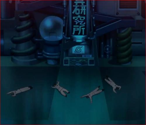 アニメBORUTO第46話、研究所の入り口で倒れる職員たち