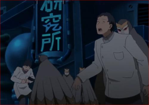 アニメBORUTO第46話、科学忍具研究所入り口で研究員を倒す白夜団