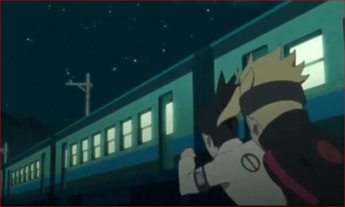 アニメBORUTO第46話、雷車を追いかけるシカダイとボルト