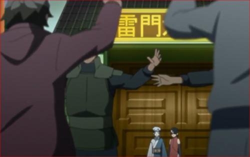 アニメBORUTO第46話、雷門カンパニー正門に立つミツキとサラダ