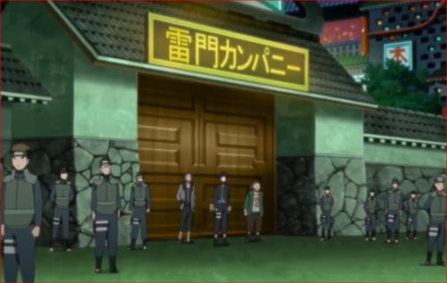 アニメBORUTO第46話、雷門カンパニー正面を固める警務部とキバ、サイ、チョウジ