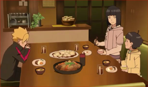 アニメBORUTO44話、うずまき家の食卓、ヒマワリ、パパは頑張っているんだね!
