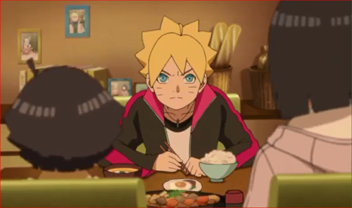 アニメBORUTO44話、うずまき家の食卓、ボルト、良い盗賊なんていないってばさ!