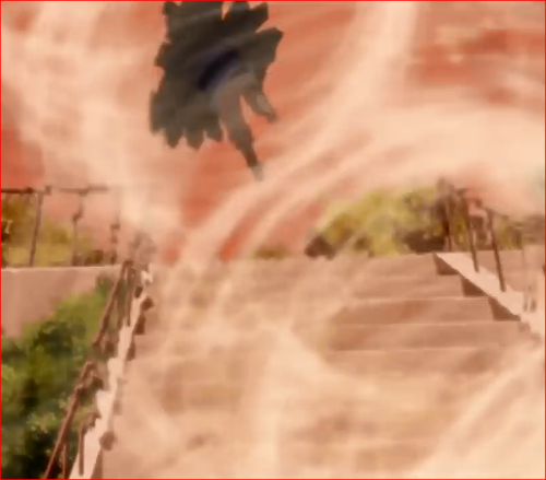 アニメBORUTO44話、テマリのカマイタチの術に吹き飛ばされるリョウギ