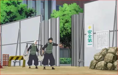 アニメBORUTO44話、建築現場の近くで強盗を働く白夜団
