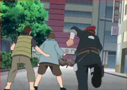 アニメBORUTO44話、強盗団を追いかけるイワベエ