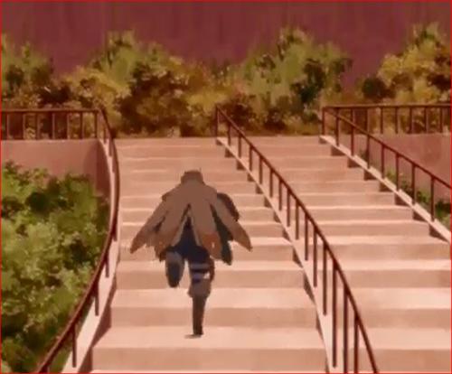 アニメBORUTO44話、白夜団の質屋強盗、公園に逃げ込むリョウギ