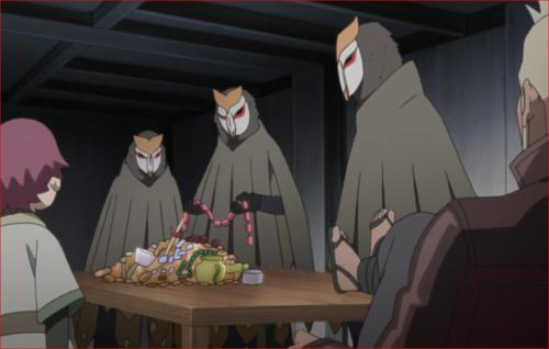 アニメBORUTO45話、アジトでお宝を確認する白夜団
