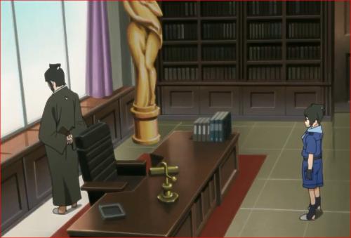 アニメBORUTO45話、デモ隊の様子を見ながら困惑するデンキの父