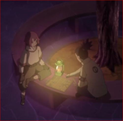 アニメBORUTO45話、ランタンの灯で将棋を指すリョウギとシカダイ