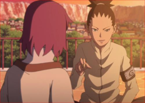 アニメBORUTO45話、将棋を始めるシカダイとリョウギ
