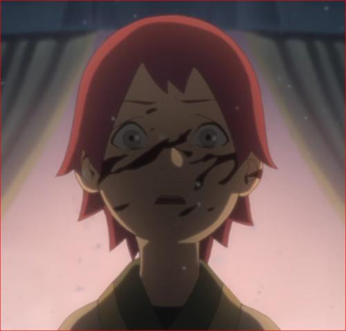 アニメBORUTO45話、母の返り血を浴びるリョウギ