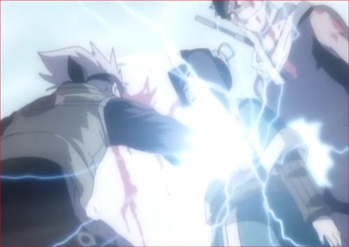 アニメNARUTO、再不斬の身代わりになってカカシの雷切を受ける白