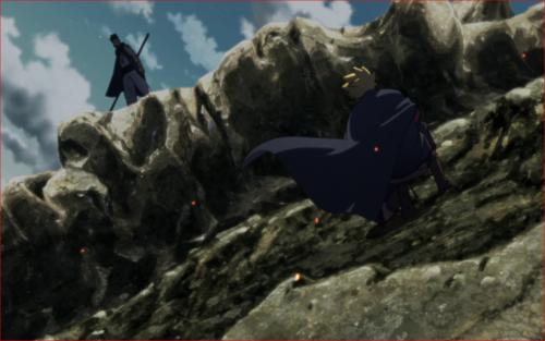 アニメBORUTO第1話、火影岩の上で戦うボルトとカワキ