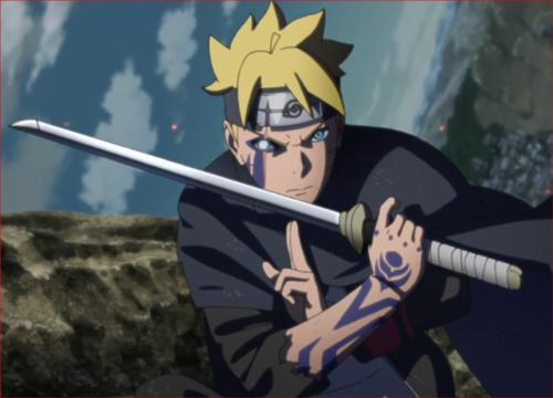 アニメBORUTO、火影岩の上で浄眼を開き戦う青年ボルト