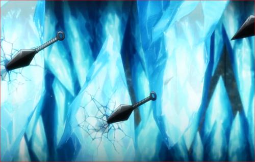 アニメBORUTO47話、氷壁にクナイを投げるシカダイ
