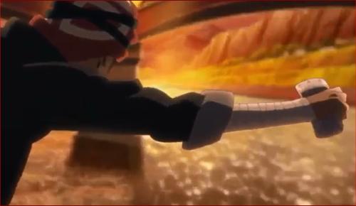 アニメBORUTO48話、川に額当てを投げるフリのイワベエ