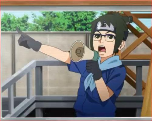 アニメBORUTO48話、拡声器を握るデンキ
