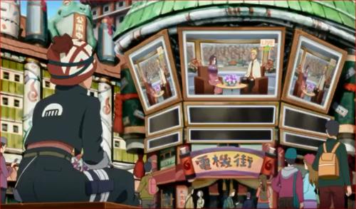 アニメBORUTO48話、木ノ葉TVを観るイワベエ
