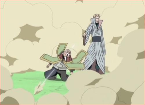 アニメNARUTO、鬼灯一族の水鉄砲の術を撃つ二代目水影