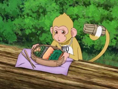 アニメBORUTO49話、お弁当を取ってしまうコマ猿