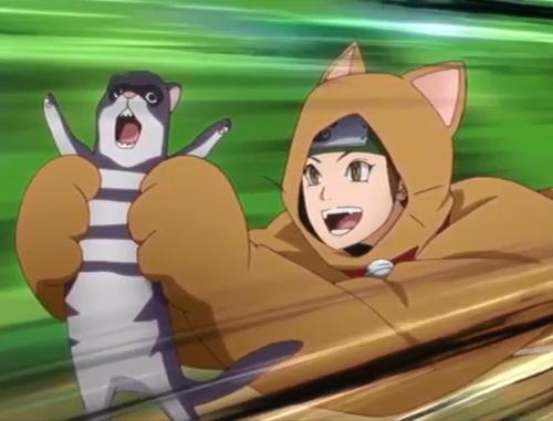 アニメBORUTO49話、着ぐるみ姿で小動物を捕獲するワサビ