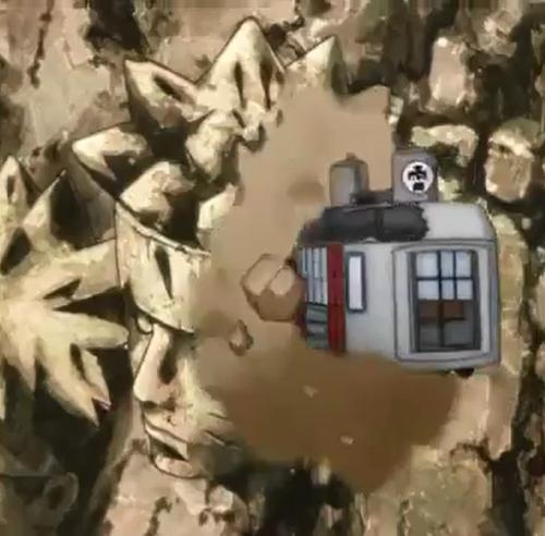 BORUTO50話、ナルトの火影岩に激突する雷車
