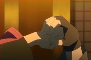 アニメBORUTO53話、サスケに受け止められる拳
